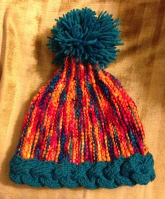 A festive hat with pom-pom