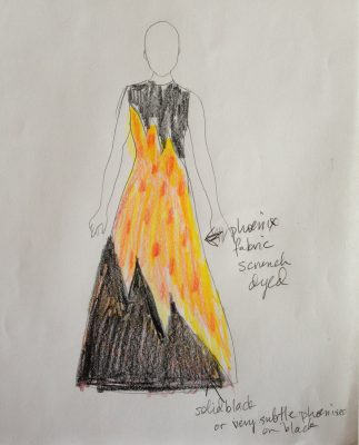 flame pattern dress