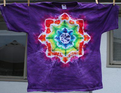 rainbow mandala on purple, XL t-shirt