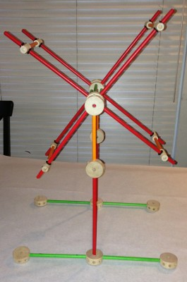 side view of assembled Tinkertoy swift