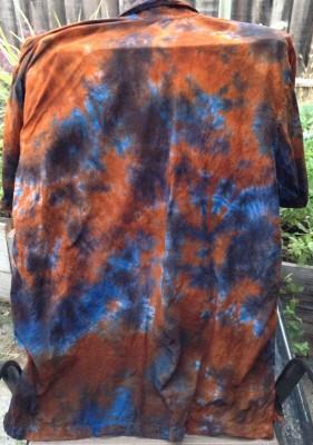blue and orange shirt back