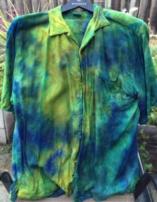 royal blue gold and green shirt