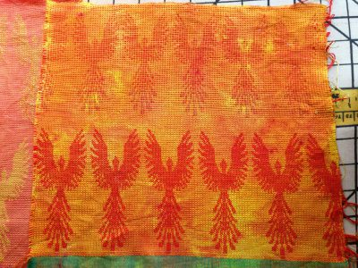 dyed phoenix fabric - red weft - front