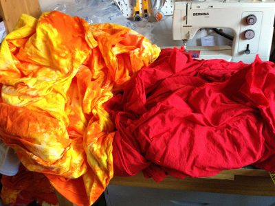 Twelve yards of hand-dyed fabric, for the Phoenix Rising kimono muslin