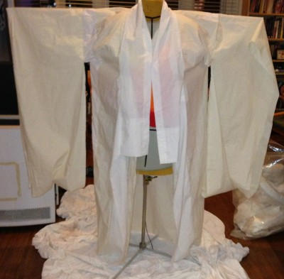 The finished muslin for Phoenix Rising kimono, front view, arms extended