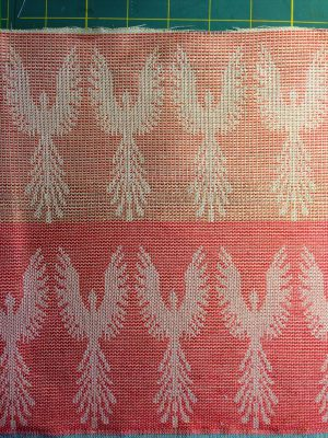phoenix fabric - undyed - red weft - reverse side