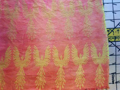 phoenix fabric - yellow weft - after dyeing and simmering in soapy water