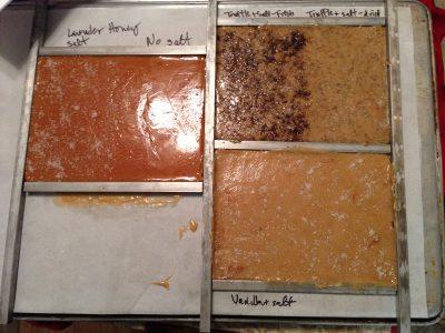 lavender caramel, lavender salt caramels, truffle caramels, vanilla salt caramels