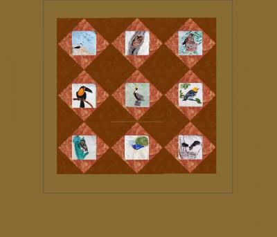 Quilt design, diamonds in squares