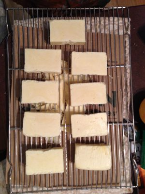 soap, cut into bars