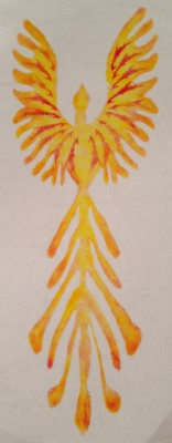 phoenix print, made by putting one stencil on top of another