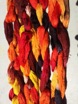 dyed warp chains for shadow weave fabric