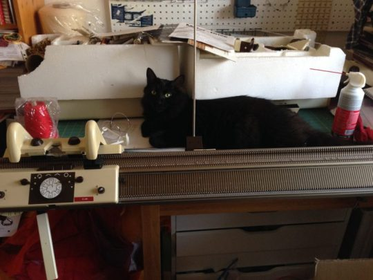 Fritz supervising work on the knitting machine