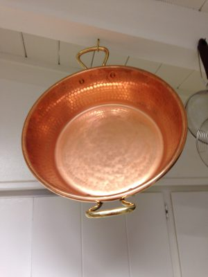 Mauviel hammered copper preserving pan