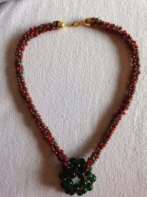 green and red necklace