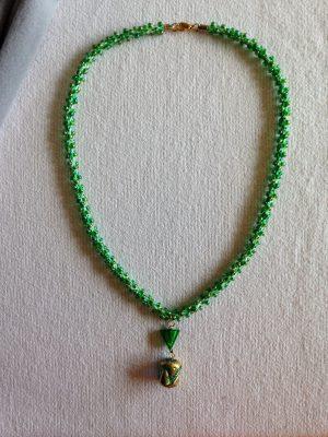kumihimo beaded braid with pendant
