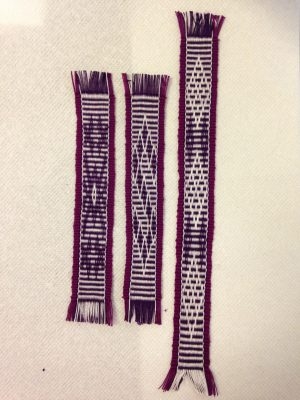 second warp on the inkle loom - bookmarks 4-6