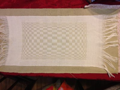 first handwoven placemat, before wet-finishing