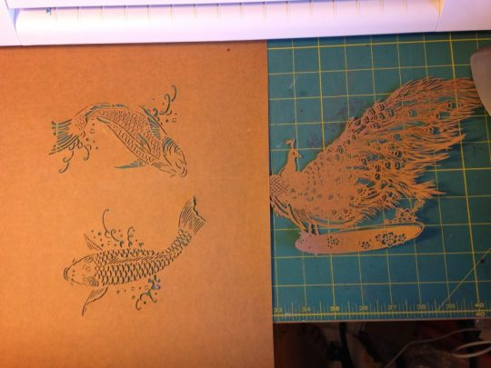 katazome stencils - fish and peacock