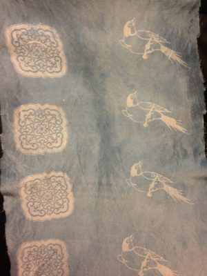 screen printed katazome paste - indigo dyed