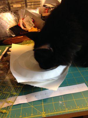 Fritz investigating origami model