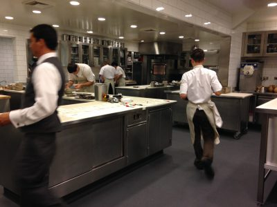 pastry and plating areas of the kitchen at Meadowood