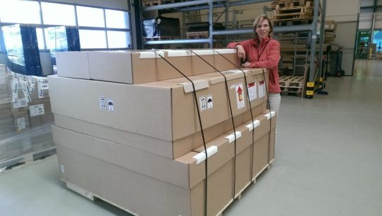 TC-2 in shipping boxes
