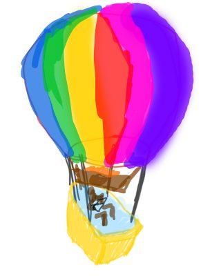 flying bathtub -with a single hot air balloon