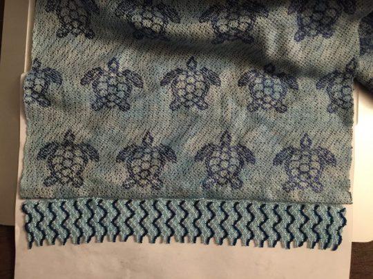 sea turtle scarf - finished fringe