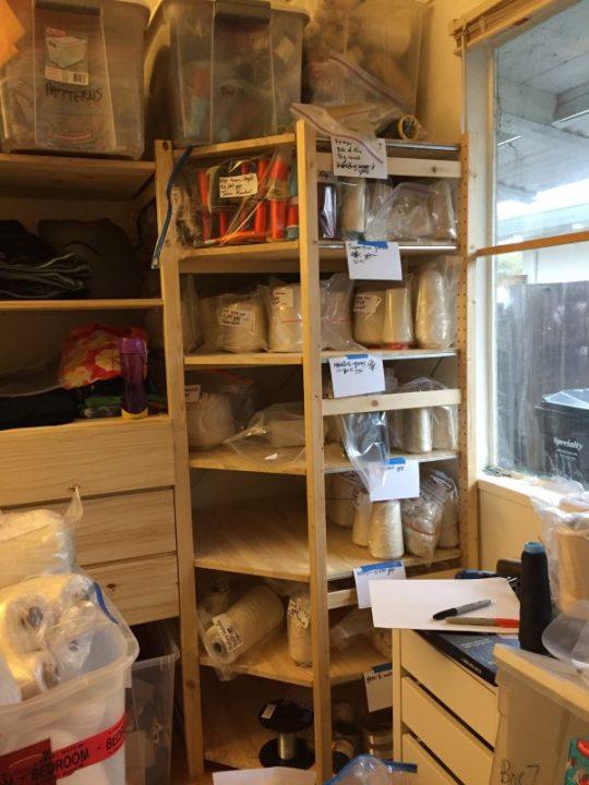 studio, midway through organizing