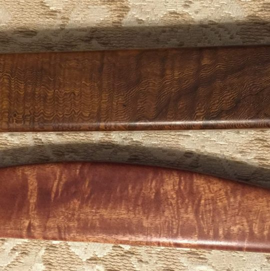 pheasantwood and curly andiroba shuttles - closeup