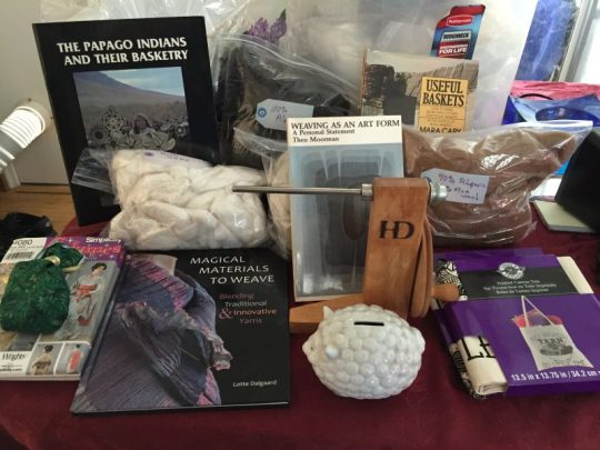 weaving, spinning, and basketry supplies from my CNCH 2016 prize basket
