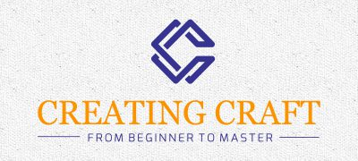 blue-orange Creating Craft logo with black and white textured background