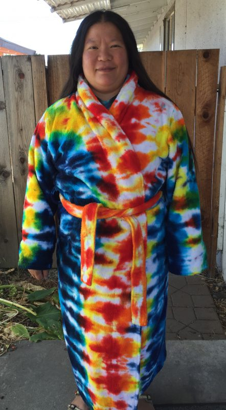 Tie-dyed bathrobe, front