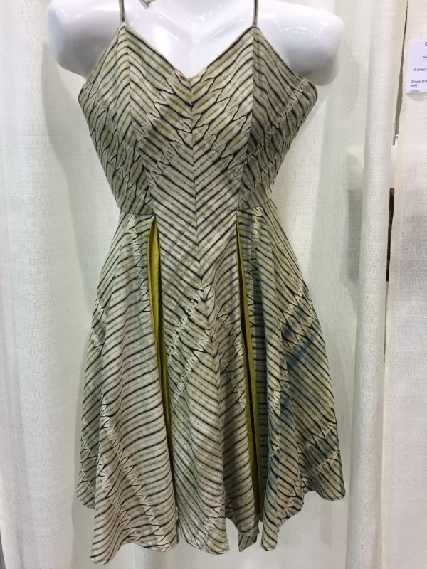 """A Dress For and From the Garden"" - Catharine Ellis and Libby O'Bryan. Woven shibori, cotton dyed with indigo and weld."