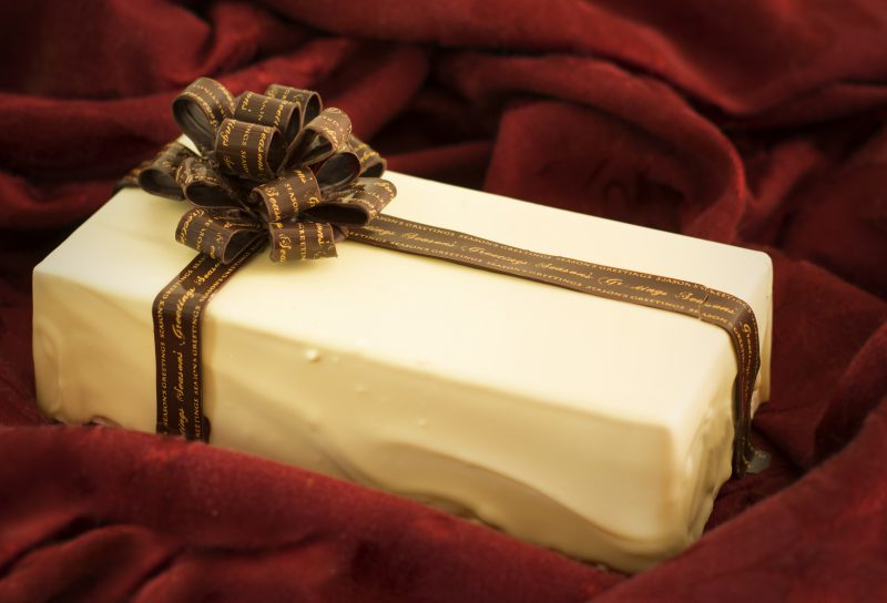 white chocolate box, dark chocolate bow and ribbon