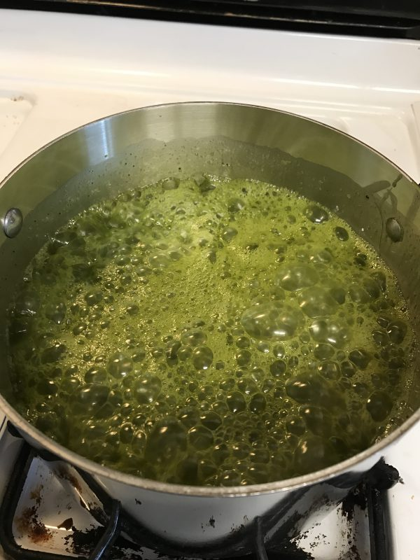 green tea honey fudge in progress