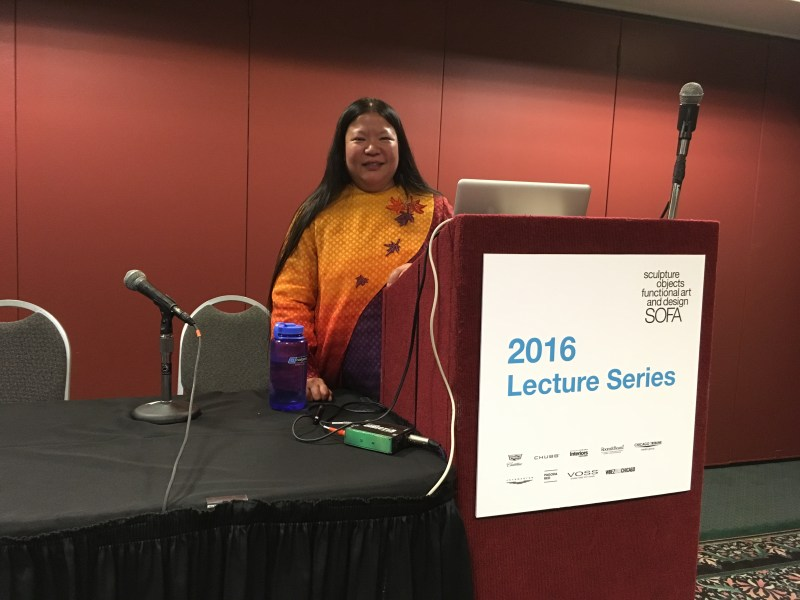 On the lecture podium at SOFA Chicago
