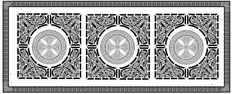 Celtic knotwork double weave black and white - front side