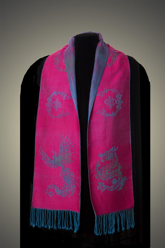 magenta phoenix-dragon scarf, back side