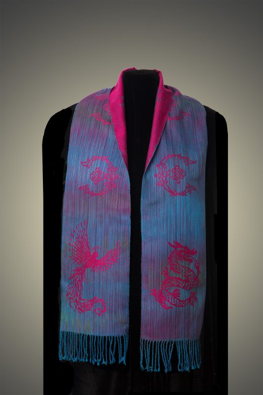 magenta phoenix-dragon scarf, front side