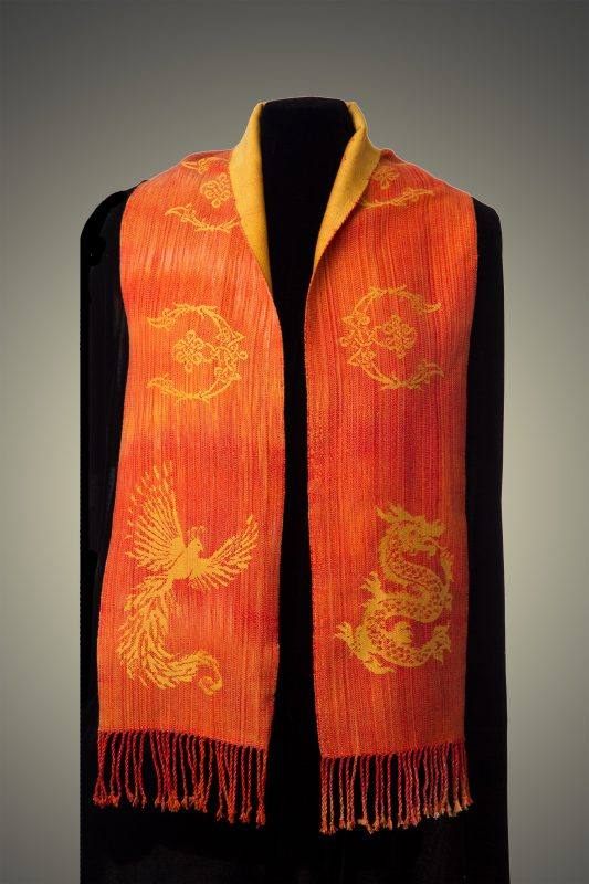orange phoenix-dragon scarf, front side