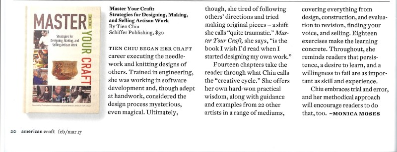 Review of Master Your Craft in the magazine American Craft