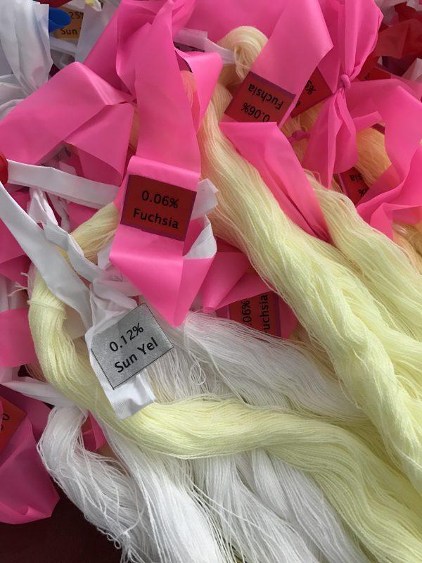 labeled dye sample skeins