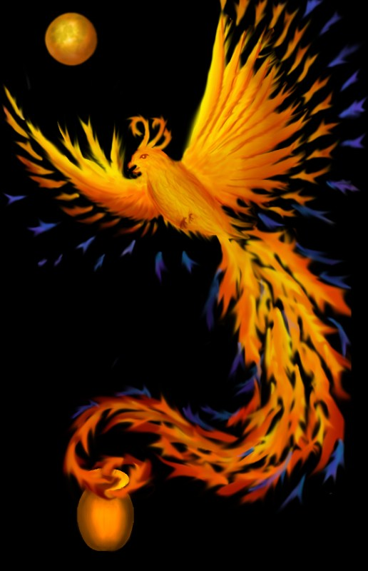 phoenix with added moon