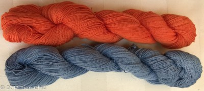 orange and light blue yarns