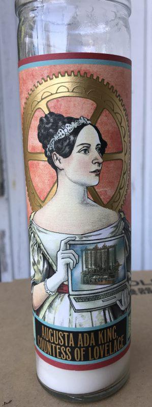 Votive candle featuring Ada Lovelace