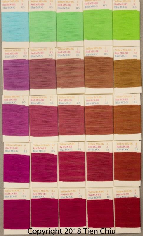 Procion MX fiber-reactive dye samples on cotton: Sun Yellow, Fuchsia, Turquoise - dark cube