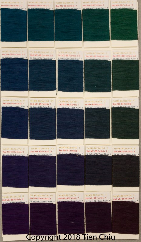 Procion MX fiber-reactive dye samples on cotton: Sun Yellow - Fuchsia - Deep Navy- dark cube