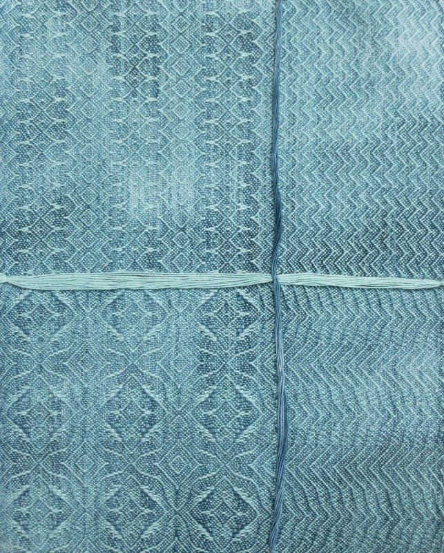 mottled blue painted warp with pale blue weft
